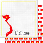 Scrapbook Customs - Adventures Around the World Collection - 12 x 12 Double Sided Paper - Adventure Border - Vietnam