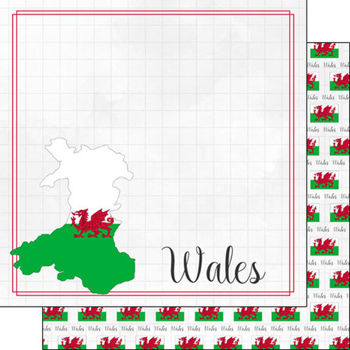 Scrapbook Customs - Adventures Around the World Collection - 12 x 12 Double Sided Paper - Adventure Border - Wales