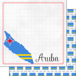 Scrapbook Customs - Adventures Around the World Collection - 12 x 12 Double Sided Paper - Adventure Border - Aruba
