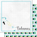 Scrapbook Customs - Adventures Around the World Collection - 12 x 12 Double Sided Paper - Adventure Border - Bahamas