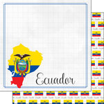 Scrapbook Customs - Adventures Around the World Collection - 12 x 12 Double Sided Paper - Adventure Border - Ecuador