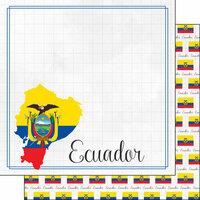 Scrapbook Customs - Adventures Around the World Collection - 12 x 12 Double Sided Paper - Adventure Border - Ecuador