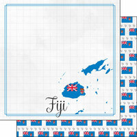 Scrapbook Customs - Adventures Around the World Collection - 12 x 12 Double Sided Paper - Adventure Border - Fiji