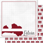 Scrapbook Customs - Adventures Around the World Collection - 12 x 12 Double Sided Paper - Adventure Border - Latvia