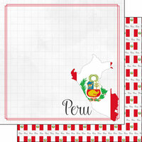 Scrapbook Customs - Adventures Around the World Collection - 12 x 12 Double Sided Paper - Adventure Border - Peru