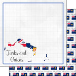 Scrapbook Customs - Adventures Around the World Collection - 12 x 12 Double Sided Paper - Adventure Border - Turks and Caicos
