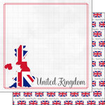 Scrapbook Customs - Adventures Around the World Collection - 12 x 12 Double Sided Paper - Adventure Border - United Kingdom