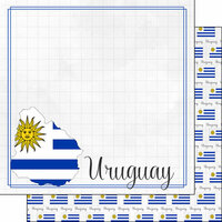 Scrapbook Customs - Adventures Around the World Collection - 12 x 12 Double Sided Paper - Adventure Border - Uruguay