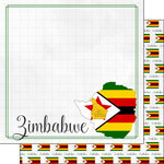 Scrapbook Customs - Adventures Around the World Collection - 12 x 12 Double Sided Paper - Adventure Border - Zimbabwe