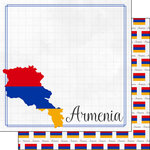 Scrapbook Customs - Adventures Around the World Collection - 12 x 12 Double Sided Paper - Adventure Border - Armenia