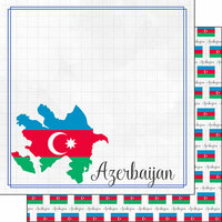 Scrapbook Customs - Adventures Around the World Collection - 12 x 12 Double Sided Paper - Adventure Border - Azerbaijan