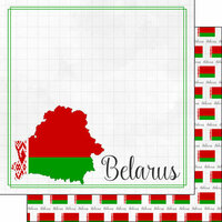 Scrapbook Customs - Adventures Around the World Collection - 12 x 12 Double Sided Paper - Adventure Border - Belarus