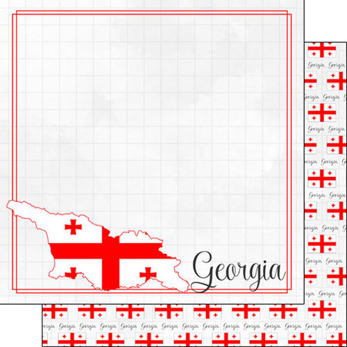 Scrapbook Customs - Adventures Around the World Collection - 12 x 12 Double Sided Paper - Adventure Border - Georgia