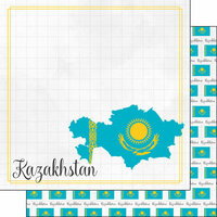 Scrapbook Customs - Adventures Around the World Collection - 12 x 12 Double Sided Paper - Adventure Border - Kazakhstan