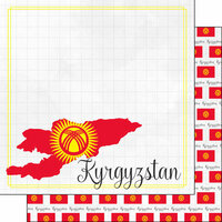 Scrapbook Customs - Adventures Around the World Collection - 12 x 12 Double Sided Paper - Adventure Border - Kyrgyzstan