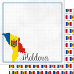 Scrapbook Customs - Adventures Around the World Collection - 12 x 12 Double Sided Paper - Adventure Border - Moldova