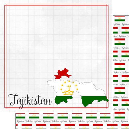 Scrapbook Customs - Adventures Around the World Collection - 12 x 12 Double Sided Paper - Adventure Border - Tajikistan