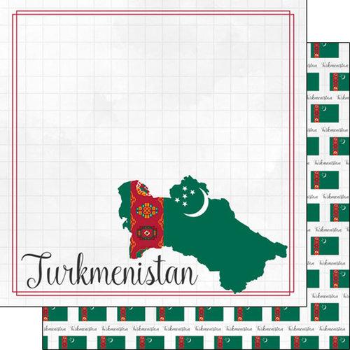 Scrapbook Customs - Adventures Around the World Collection - 12 x 12 Double Sided Paper - Adventure Border - Turkmenistan