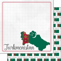Scrapbook Customs - Adventures Around the World Collection - 12 x 12 Double Sided Paper - Adventure Border - Turkmenistan