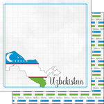 Scrapbook Customs - Adventures Around the World Collection - 12 x 12 Double Sided Paper - Adventure Border - Uzbekistan