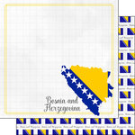 Scrapbook Customs - Adventures Around the World Collection - 12 x 12 Double Sided Paper - Adventure Border - Bosnia and Herzegovina