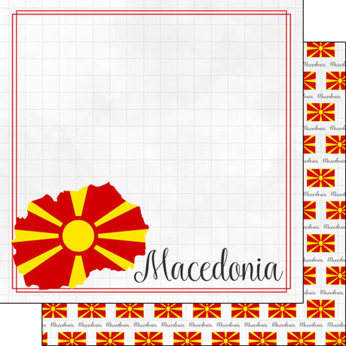 Scrapbook Customs - Adventures Around the World Collection - 12 x 12 Double Sided Paper - Adventure Border - Macedonia