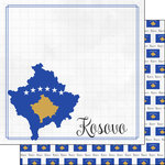 Scrapbook Customs - Adventures Around the World Collection - 12 x 12 Double Sided Paper - Adventure Border - Kosovo