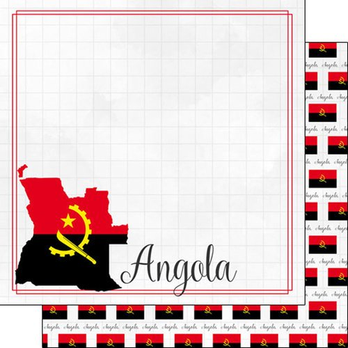 Scrapbook Customs - Adventures Around the World Collection - 12 x 12 Double Sided Paper - Adventure Border - Angola