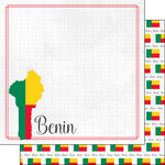 Scrapbook Customs - Adventures Around the World Collection - 12 x 12 Double Sided Paper - Adventure Border - Benin