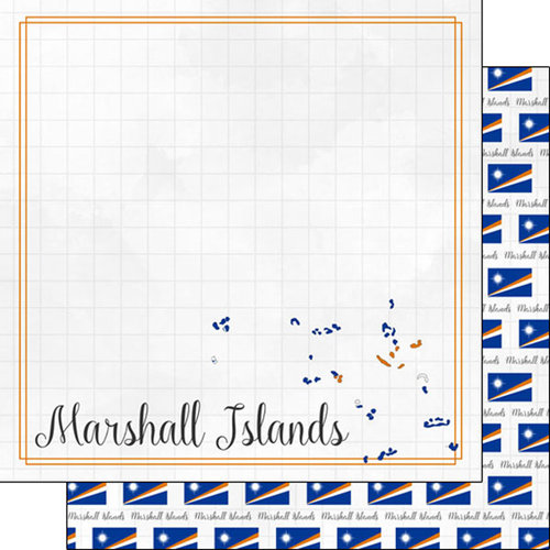 Scrapbook Customs - Adventures Around the World Collection - 12 x 12 Double Sided Paper - Adventure Border - Marshall Islands