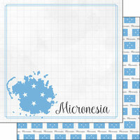 Scrapbook Customs - Adventures Around the World Collection - 12 x 12 Double Sided Paper - Adventure Border - Micronesia