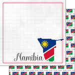 Scrapbook Customs - Adventures Around the World Collection - 12 x 12 Double Sided Paper - Adventure Border - Namibia