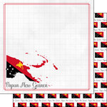 Scrapbook Customs - Adventures Around the World Collection - 12 x 12 Double Sided Paper - Adventure Border - Papua New Guinea