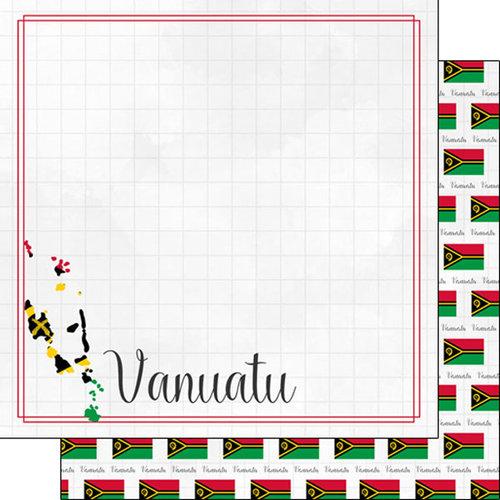 Scrapbook Customs - Adventures Around the World Collection - 12 x 12 Double Sided Paper - Adventure Border - Vanuatu