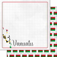 Scrapbook Customs - Adventures Around the World Collection - 12 x 12 Double Sided Paper - Adventure Border - Vanuatu