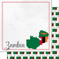 Scrapbook Customs - Adventures Around the World Collection - 12 x 12 Double Sided Paper - Adventure Border - Zambia