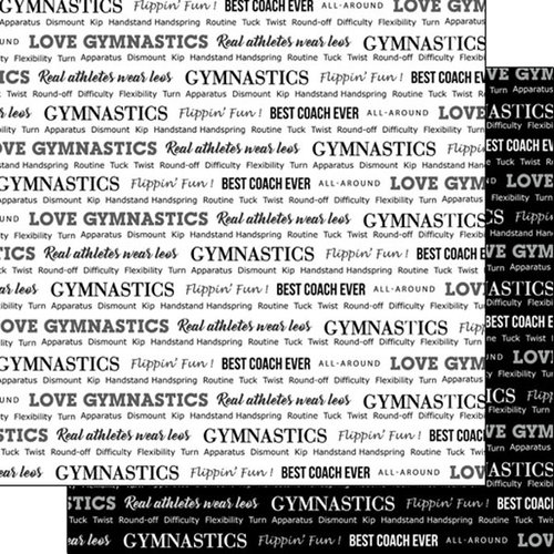Scrapbook Customs - Sports Pride Collection - 12 x 12 Double Sided Paper - Gymnastics 2