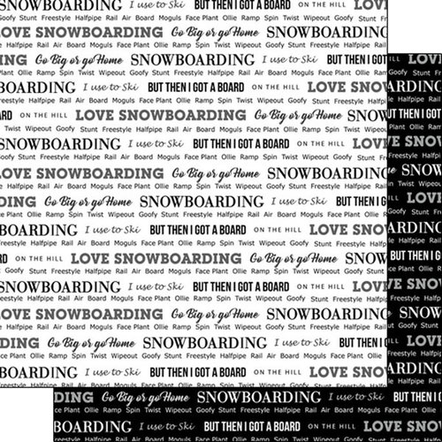 Scrapbook Customs - Sports Pride Collection - 12 x 12 Double Sided Paper - Snowboarding 2