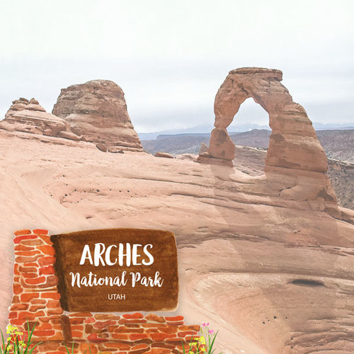 Scrapbook Customs - United States National Parks Collection - 12 x 12 Double Sided Paper - Watercolor - Arches