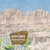 Scrapbook Customs - United States National Parks Collection - 12 x 12 Double Sided Paper - Watercolor - Badlands
