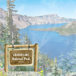 Scrapbook Customs - United States National Parks Collection - 12 x 12 Double Sided Paper - Watercolor - Crater Lake
