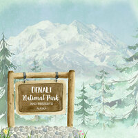 Scrapbook Customs - United States National Parks Collection - 12 x 12 Double Sided Paper - Watercolor - Denali