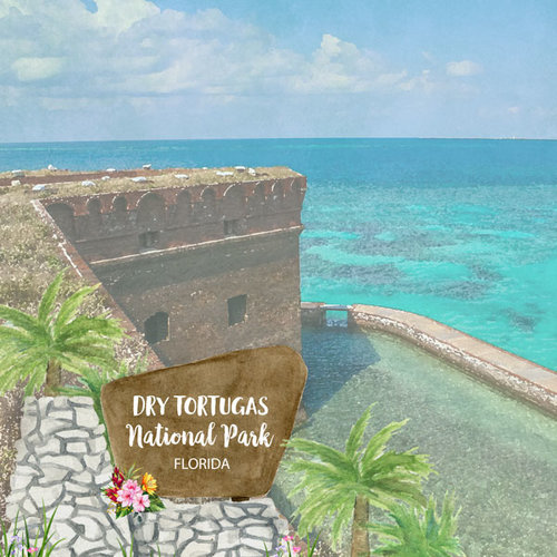 Scrapbook Customs - United States National Parks Collection - 12 x 12 Double Sided Paper - Watercolor - Dry Tortugas