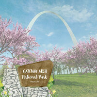 Scrapbook Customs - United States National Parks Collection - 12 x 12 Double Sided Paper - Watercolor - Gateway Arch