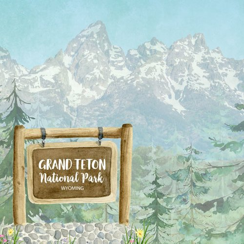 Scrapbook Customs - United States National Parks Collection - 12 x 12 Double Sided Paper - Watercolor - Grand Teton