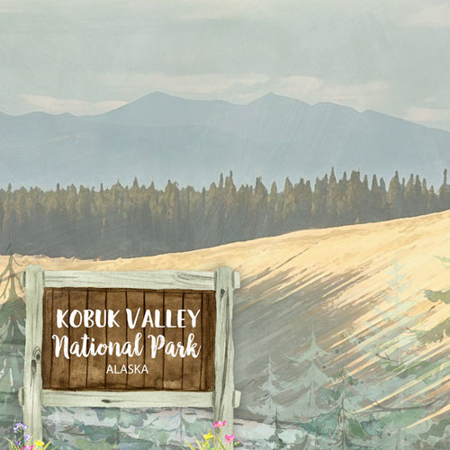 Scrapbook Customs - United States National Parks Collection - 12 x 12 Double Sided Paper - Watercolor - Kobuk Valley