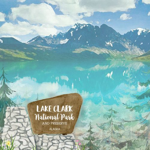 Scrapbook Customs - United States National Parks Collection - 12 x 12 Double Sided Paper - Watercolor - Lake Clark