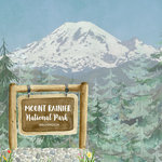 Scrapbook Customs - United States National Parks Collection - 12 x 12 Double Sided Paper - Watercolor - Mount Rainier