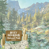 Scrapbook Customs - United States National Parks Collection - 12 x 12 Double Sided Paper - Watercolor - Rocky Mountain