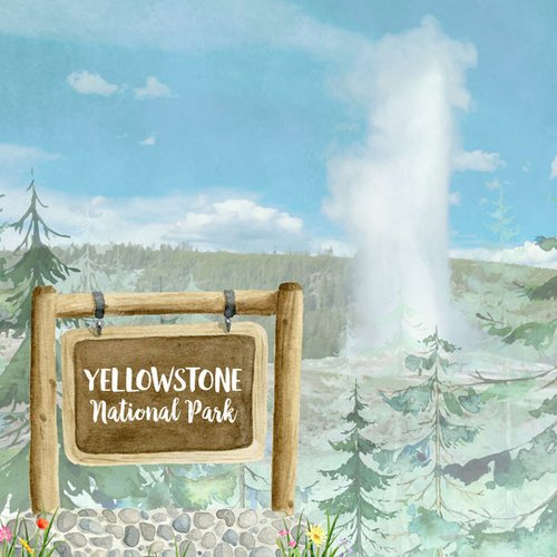 Scrapbook Customs - United States National Parks Collection - 12 x 12 Double Sided Paper - Watercolor - Yellowstone
